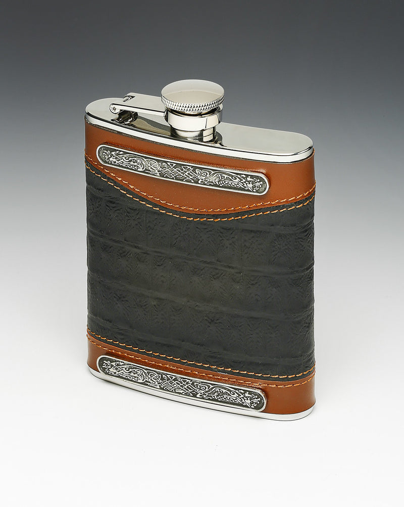 Irish Whiskey Flask | Black and Tan - Leather Bound - Pewter - 6 oz. | Mullingar - TheIrishShop