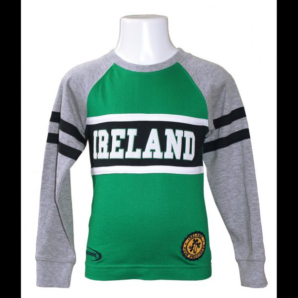 Lansdowne Emerald/Grey Ireland Long Sleeve Kids Top - TheIrishShop