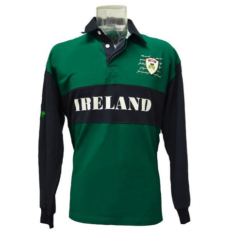 Lansdowne Navy/Green Pique Long Sleeve Rugby Shirt