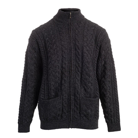 Men's Zip up Cardigan with Cable Patterns