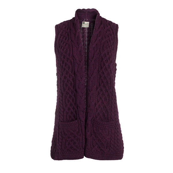 Ladies Merino Wool Celtic Gilet Cardigan - TheIrishShop