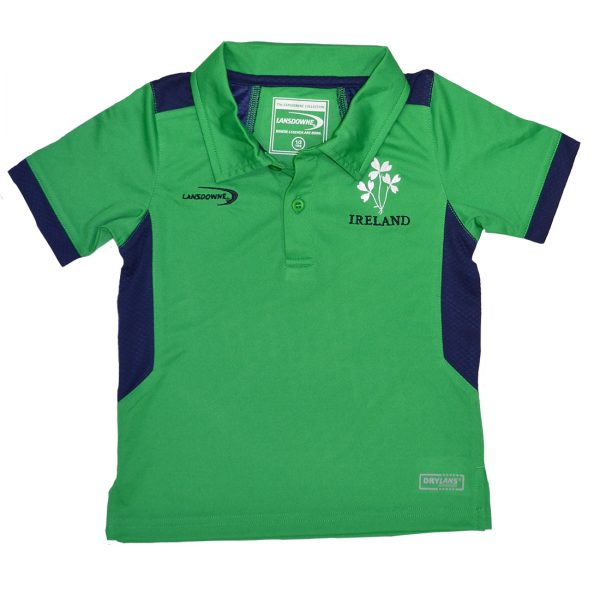 Lansdowne Emerald/Navy Ireland Shamrock Kids Performance Polo - TheIrishShop