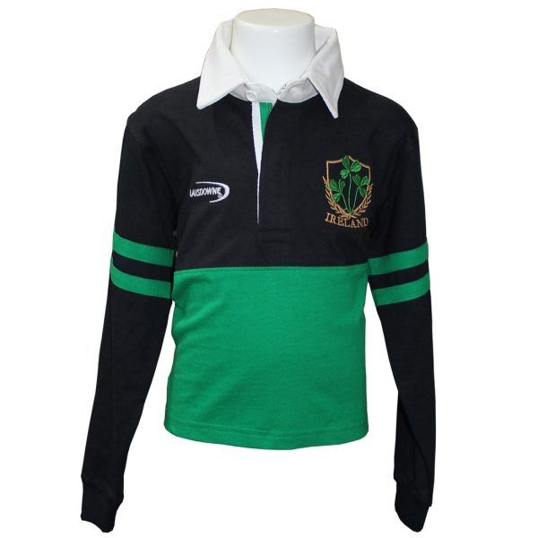 Lansdowne Emerald/Navy Ireland Shamrock Long Sleeve Rugby Shirt - TheIrishShop