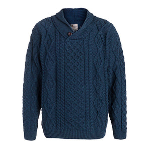 Men's One Button Shawl Wool Collar Cable Sweater