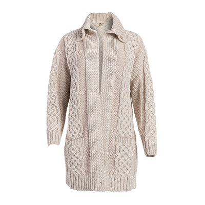 Ladies Celtic Wool Cable Coat Cardigan - TheIrishShop