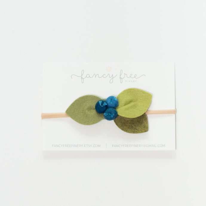 BLUEBERRY CLUSTER // headband or alligator clip // felt flower accessories for a whimsical childhood