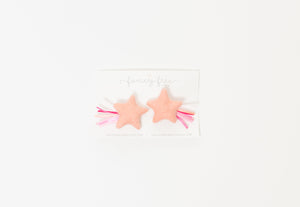 "2"" Bubblegum Pink Sparkler Star // Alligator Clip, Nylon Headband, or Pigtail Set"