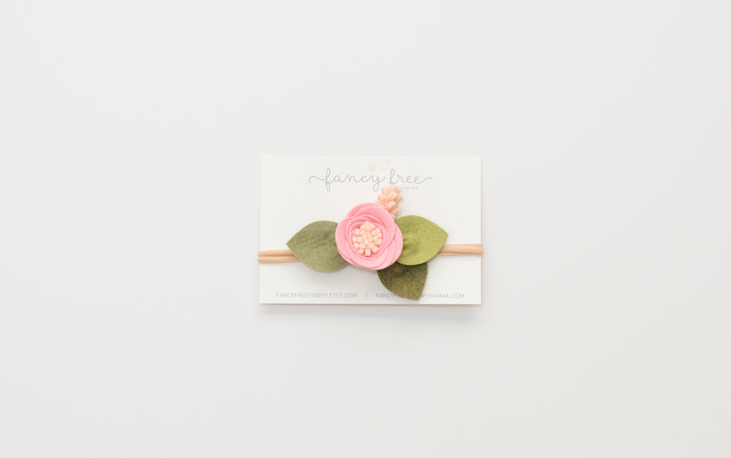 BUBBLEGUM PINK // single felt flower headband or alligator clip