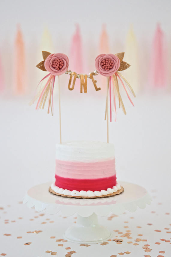 CAKE TOPPER // you pick the flower color + message! // customized felt flower cake topper with coordinating ribbon streamers