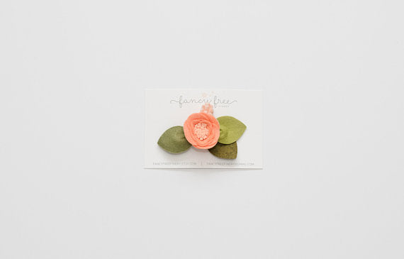 GEORGIA PEACH // single felt flower headband or alligator clip