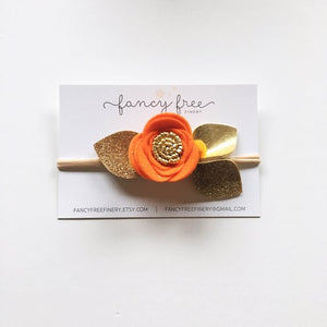 HALLOWEEN ORANGE // single felt flower headband or alligator clip