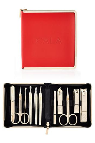 CALA 11 PCS DELUXE MANICURE SET (Gold - Red Leather Case)