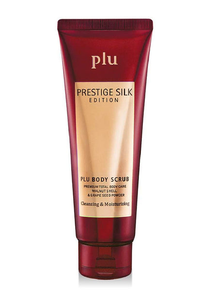 plu Body Scrub Prestige Silk Edition, Double Effect Exfoliation, 3-in-1 Cleansing Moisturizing and Exfoliating [Burgundy]