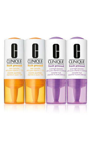 Clinique Fresh Pressed Clinical Daily + Overnight Boosters with Pure Vitamins C 10% + A (Retinol) - 2 PACK
