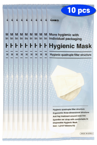 ILWOUL Hygienic Mask Quadruple Filter Structure Made in Korea (10 Individual Packs)