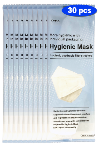 ILWOUL Hygienic Mask Quadruple Filter Structure Made in Korea (30 Individual Packs)