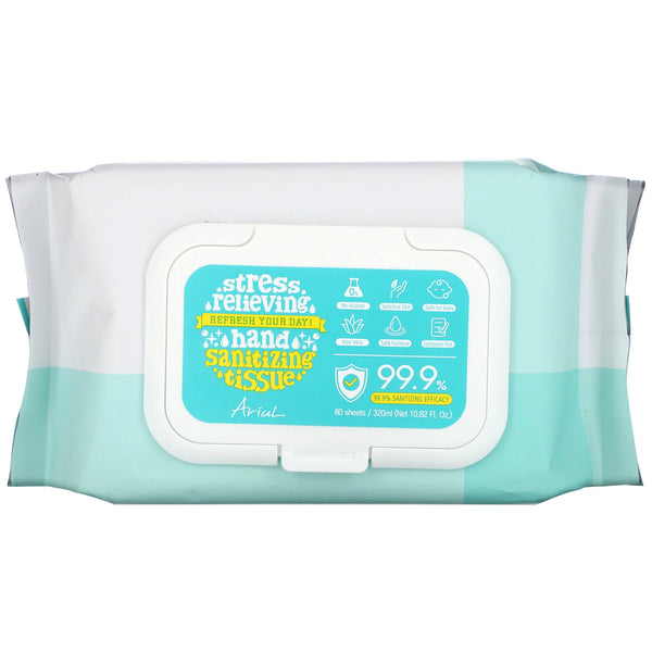 Ariul Hand Sanitizing Wipes, 99.9% Efficacy, Aloe Vera, 80 Tissues