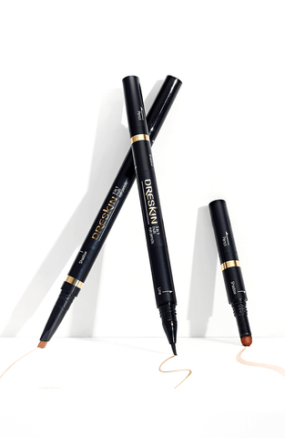 DRESKIN 3-in-1 Multi Eye Pencils Eyebrow Pencil + Tip Shadow + Brush Eyeliner