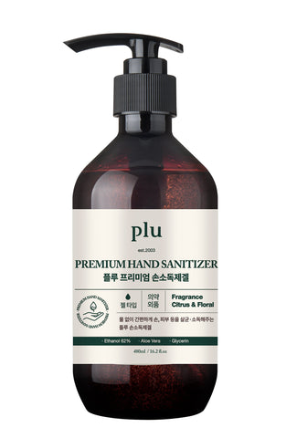 plu Premium Hand Sanitizer Moisturizing with Aloe & Green Tea, 480 ml / 16.2 fl. oz - eCosmeticWorld