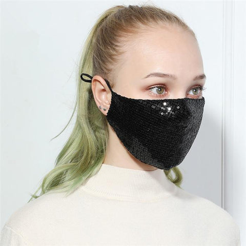 Black Spangle Designer Fashion Face Mask, Reusable, Washable and Size Adjustable Elastic Ear Loops