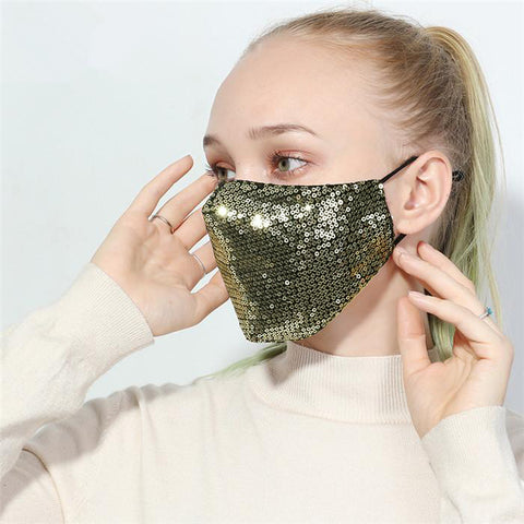 Gold Spangle Designer Fashion Face Mask, Reusable, Washable and Size Adjustable Elastic Ear Loops