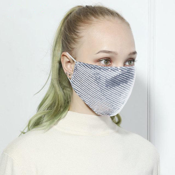 Silver Spangle Designer Fashion Face Mask, Reusable, Washable and Size Adjustable Elastic Ear Loops