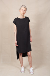 black shift dress with side slits and pockets