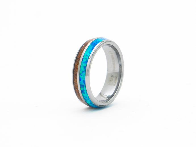 Tungsten Ring Band with Koa Wood and Blue Opal Gemstone Inlay