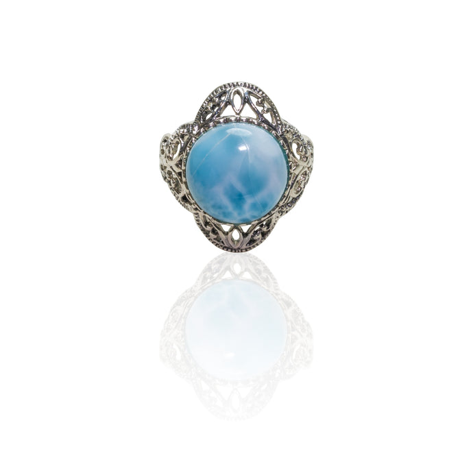 Larimar Stone Ring with Antique Design in Sterling Silver
