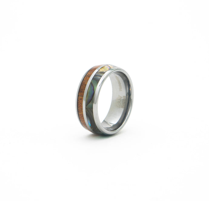 Tungsten Ring Band with Abalone Shell and Koa Wood Inlay