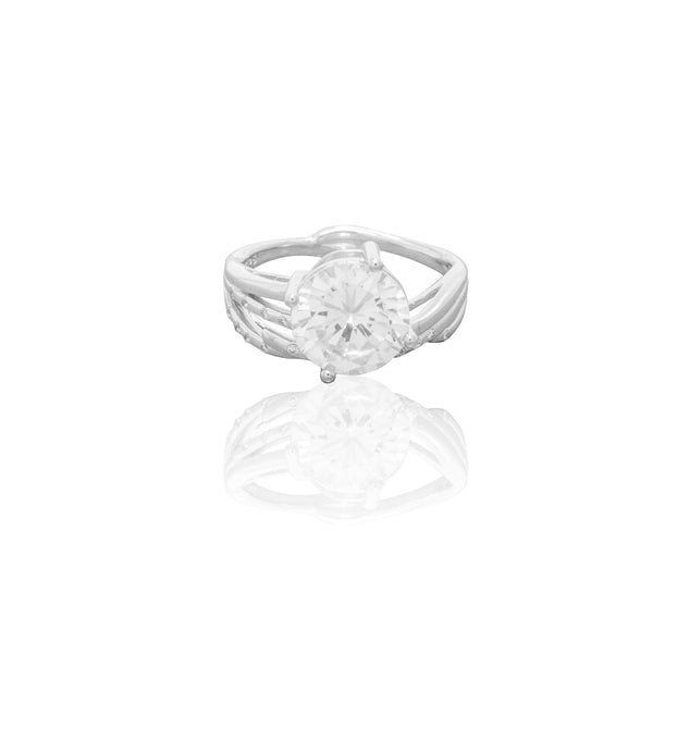 Cubic Zirconia Ring - Single Round Stone in Sterling Silver Band