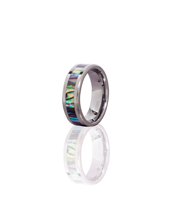Tungsten Ring Band with Abalone Shell Inlay