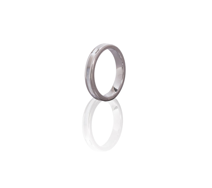 Tungsten Petite Ring Band with Mother of Pearl Inlay
