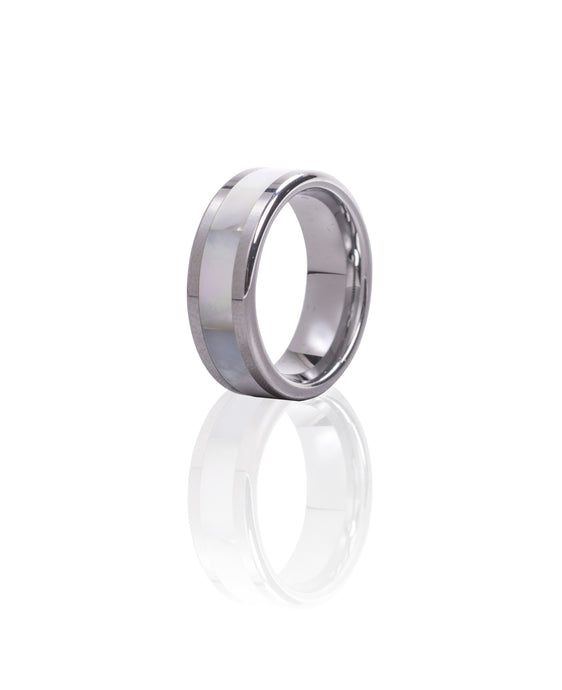 Tungsten Ring Mother of Pearl Band