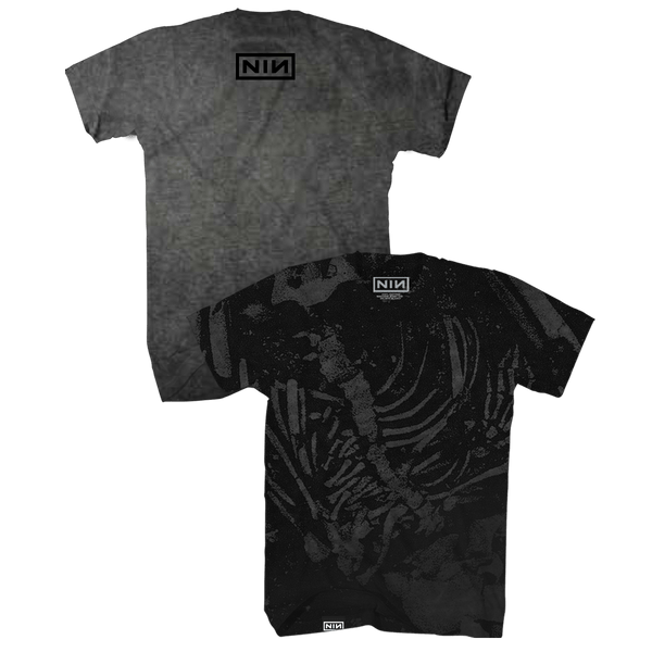 SKELETON OIL WASH TEE - NINE INCH NAILS
