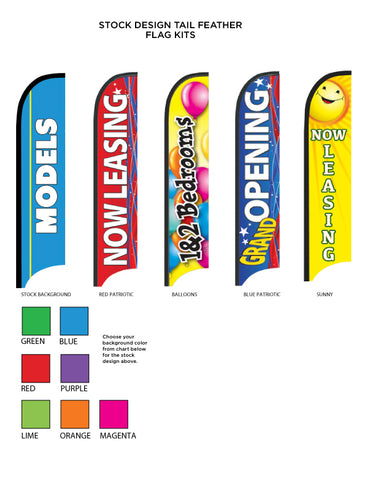 Stock Printed Tail Feather Flags - 5 Sizes!