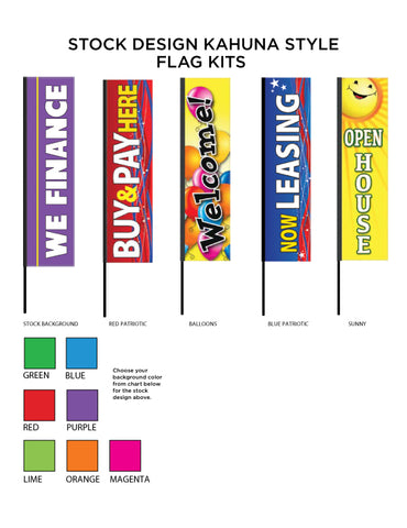 Stock Printed Kahuna Flag Kits - 3 sizes!