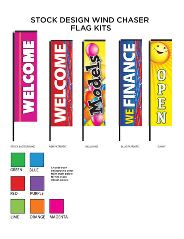 Stock Printed Wind Chaser Flags - 3 Sizes!