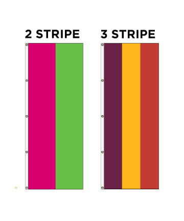 Vertical Decorative Flag - Stripes - 2 or 3 Stripe Styles