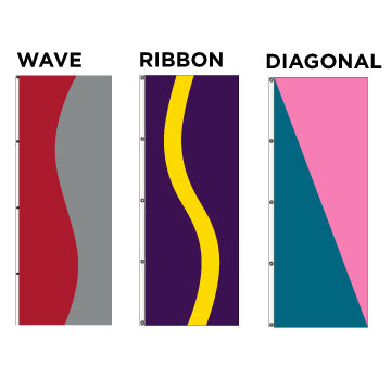 Vertical Wave, Ribbon & Diagonal Flags - Our MOST Popular