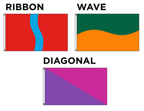 Horizontal Wave, Ribbon & Diagonal Flags - Our MOST Popular