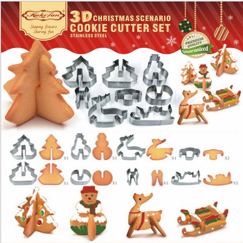 8 Pcs 3D Christmas Cookie Cutter