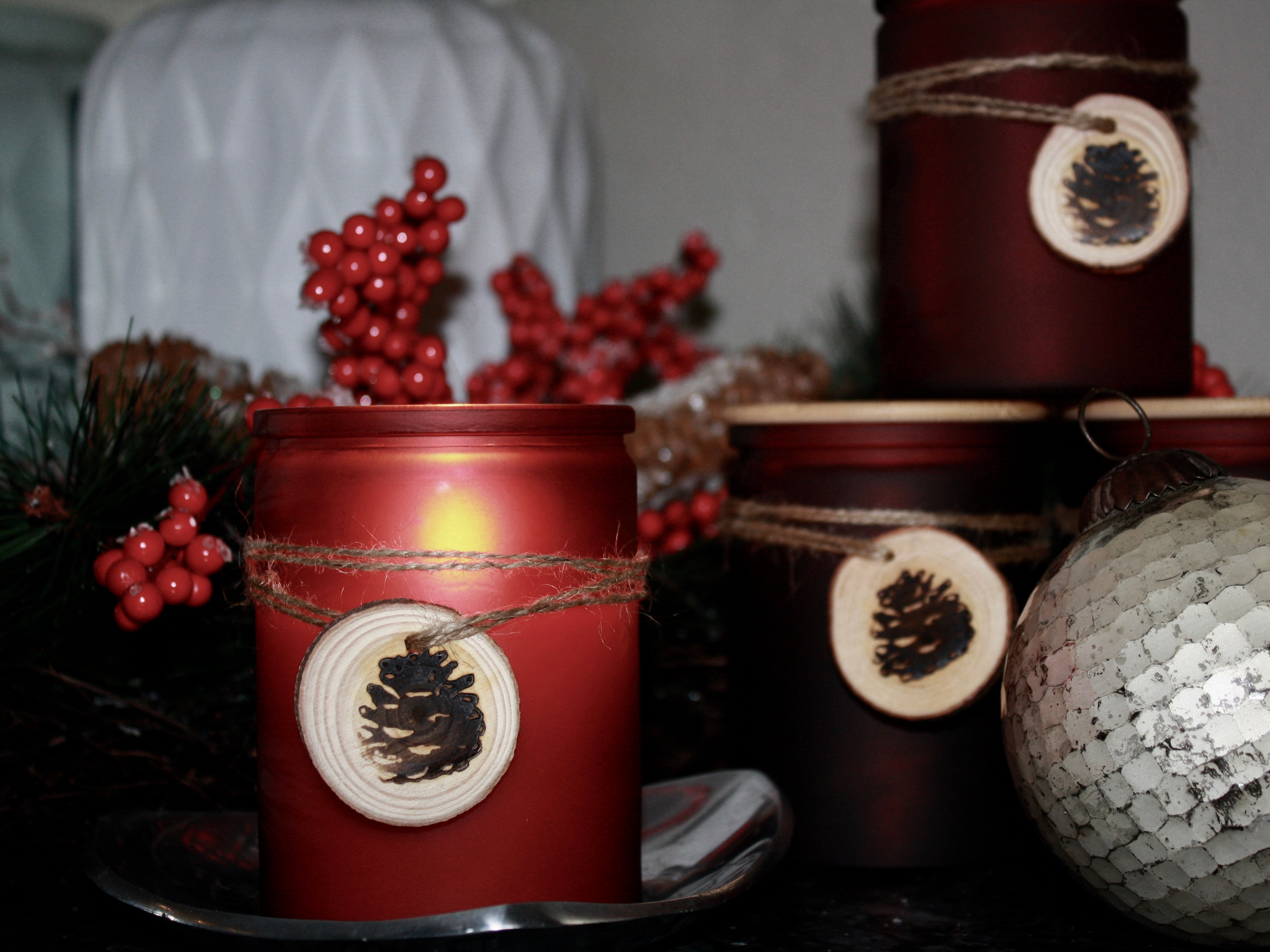 Festive Pomegranate - 12 oz. Custom Soy Blend Jar with Maple Wood Lid -  Available in Frosted White, Red or Pine
