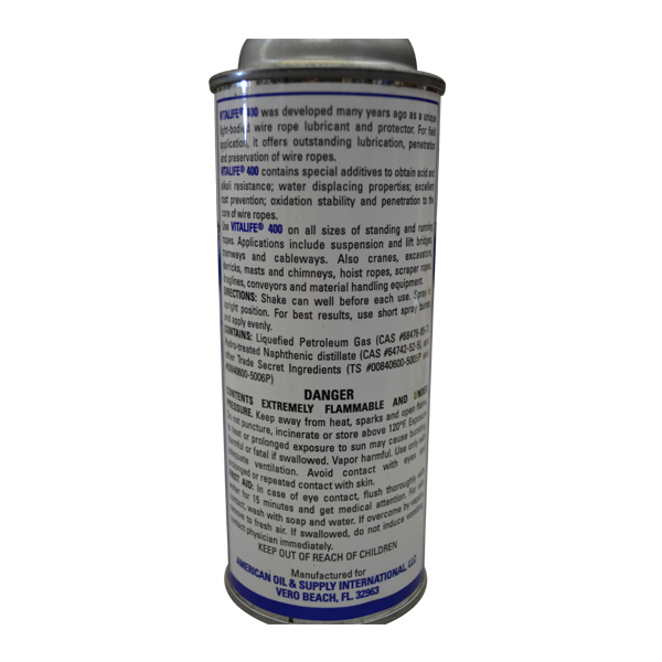 Vitalife Wire Rope Lubricant 12 oz can