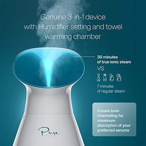 Nano Steamer Large 3-in-1 Nano Ionic Facial Steamer with Precise Temp Control - 30 Min Steam Time