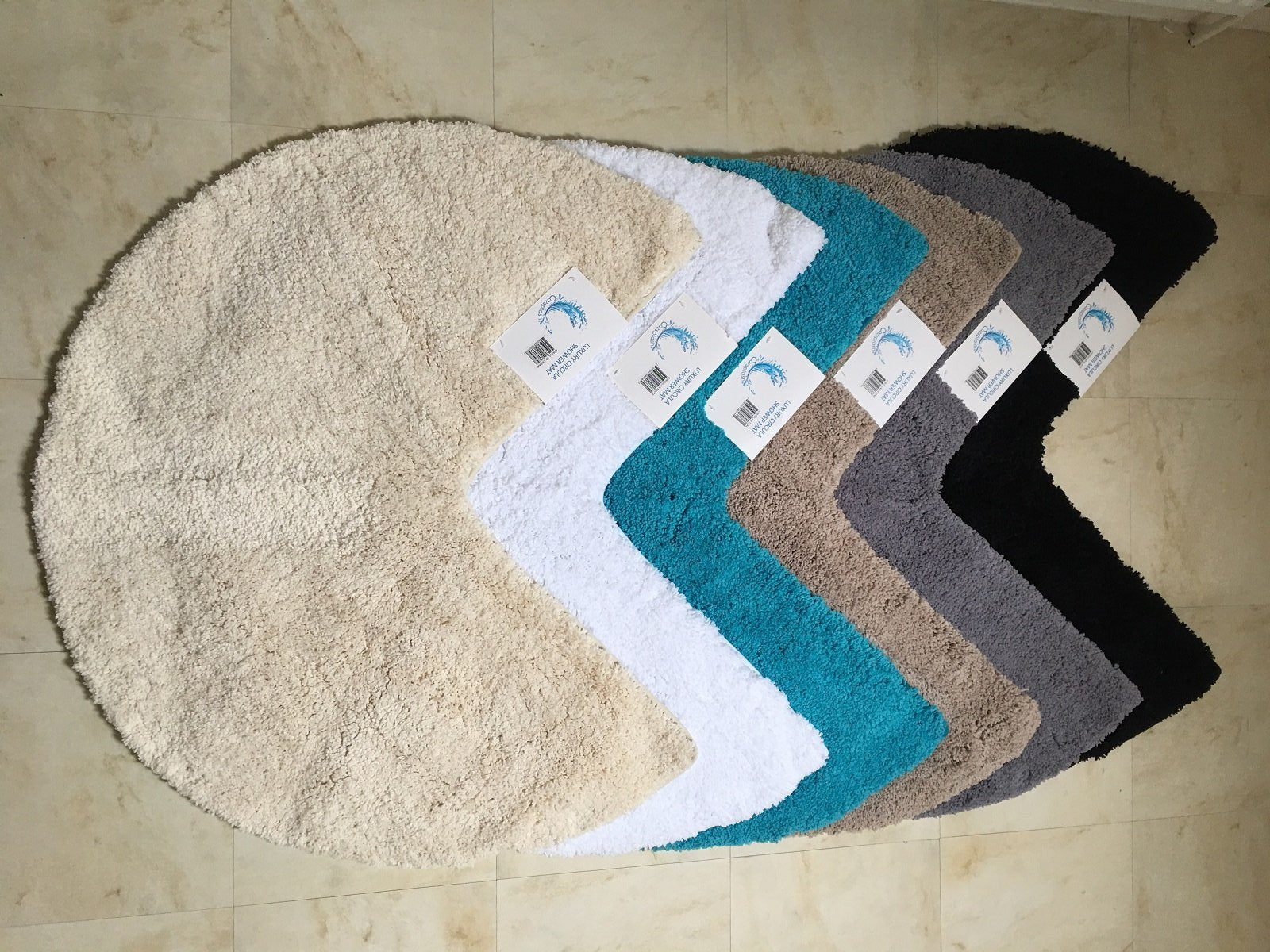 Captivating ... Microfibre Non Slip Circular Corner Shower Mat ...