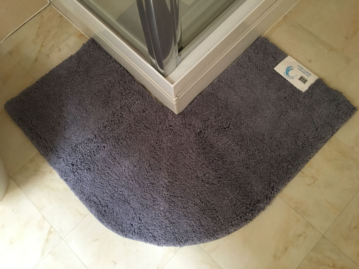 Microfibre non slip corner shower mat cazsplash - Wallpapering around a curved corner ...