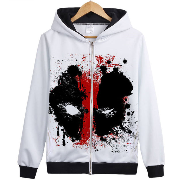 Antihero graffiti zip front hoodie | Deadpool inspired