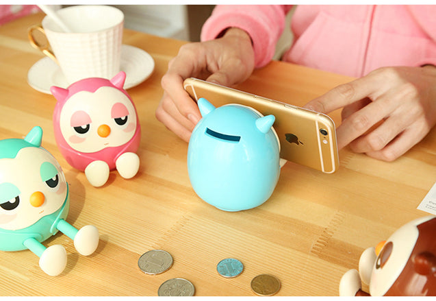 Cute Owl Piggy Bank Phone Stand | Nerd Royale