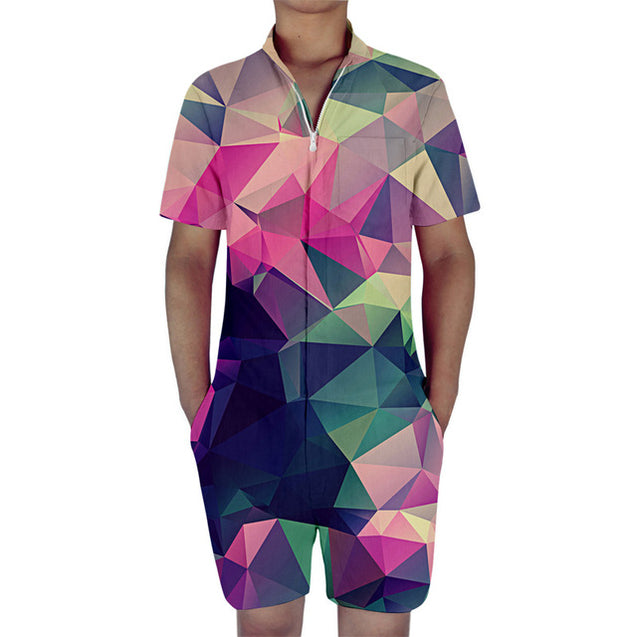 geometric design mens romper | Rompers for adults